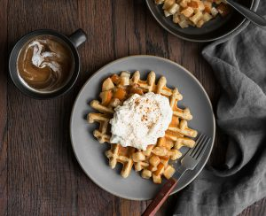 multigrain waffles cardamom Bosc pear whipped cream
