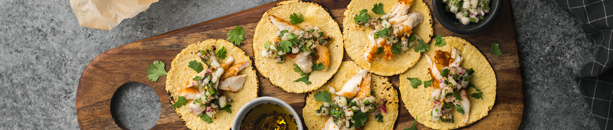 Mini Fish Tacos with Bartlett Pear Salsa & Chili Drizzle