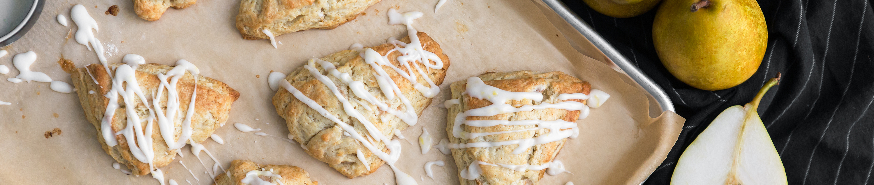 French Butter Pear Ginger Scones with Glaze