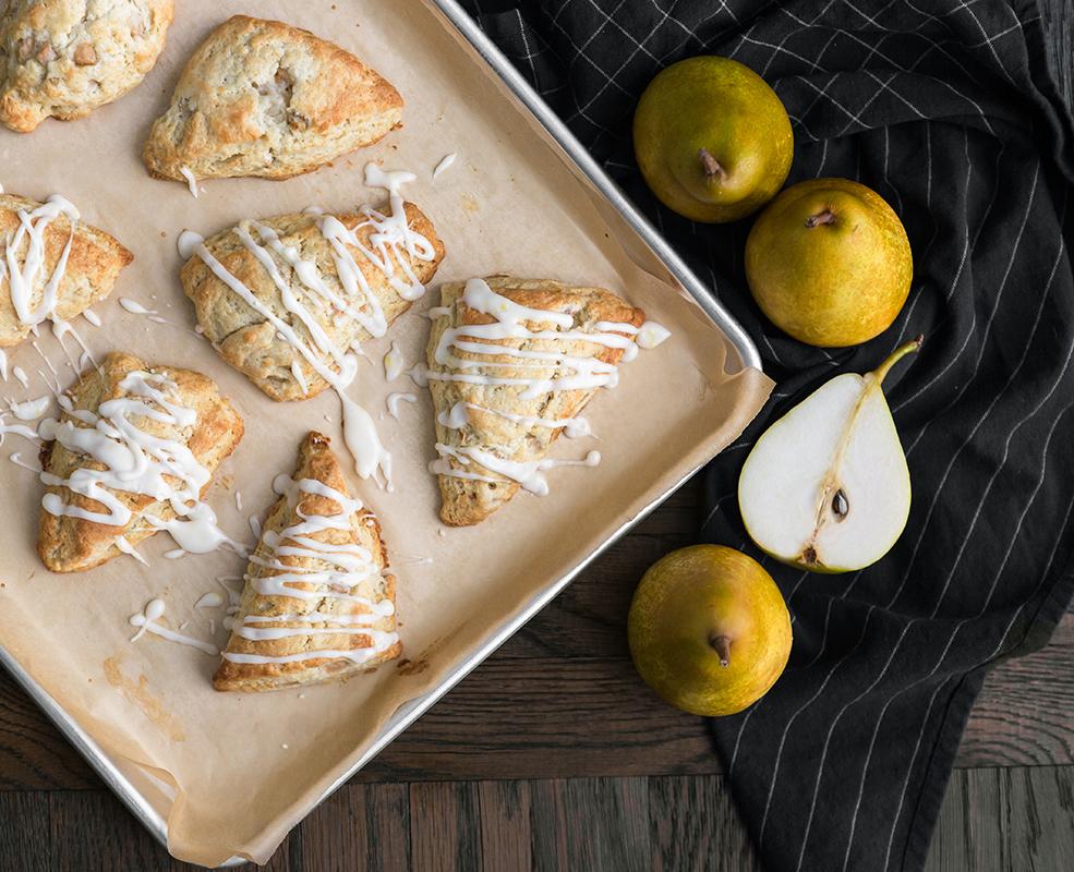 glazed French Butter pear ginger scones