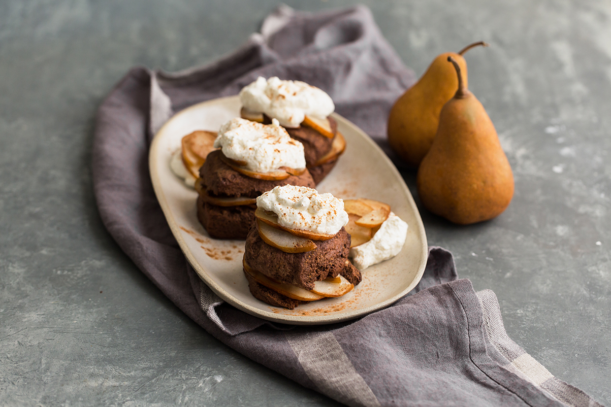 chocolate shortcake spiced Bosc pear vanilla whipped cream
