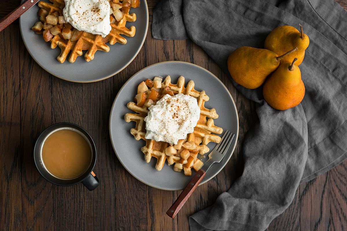 waffles cardamom pears whipped cream