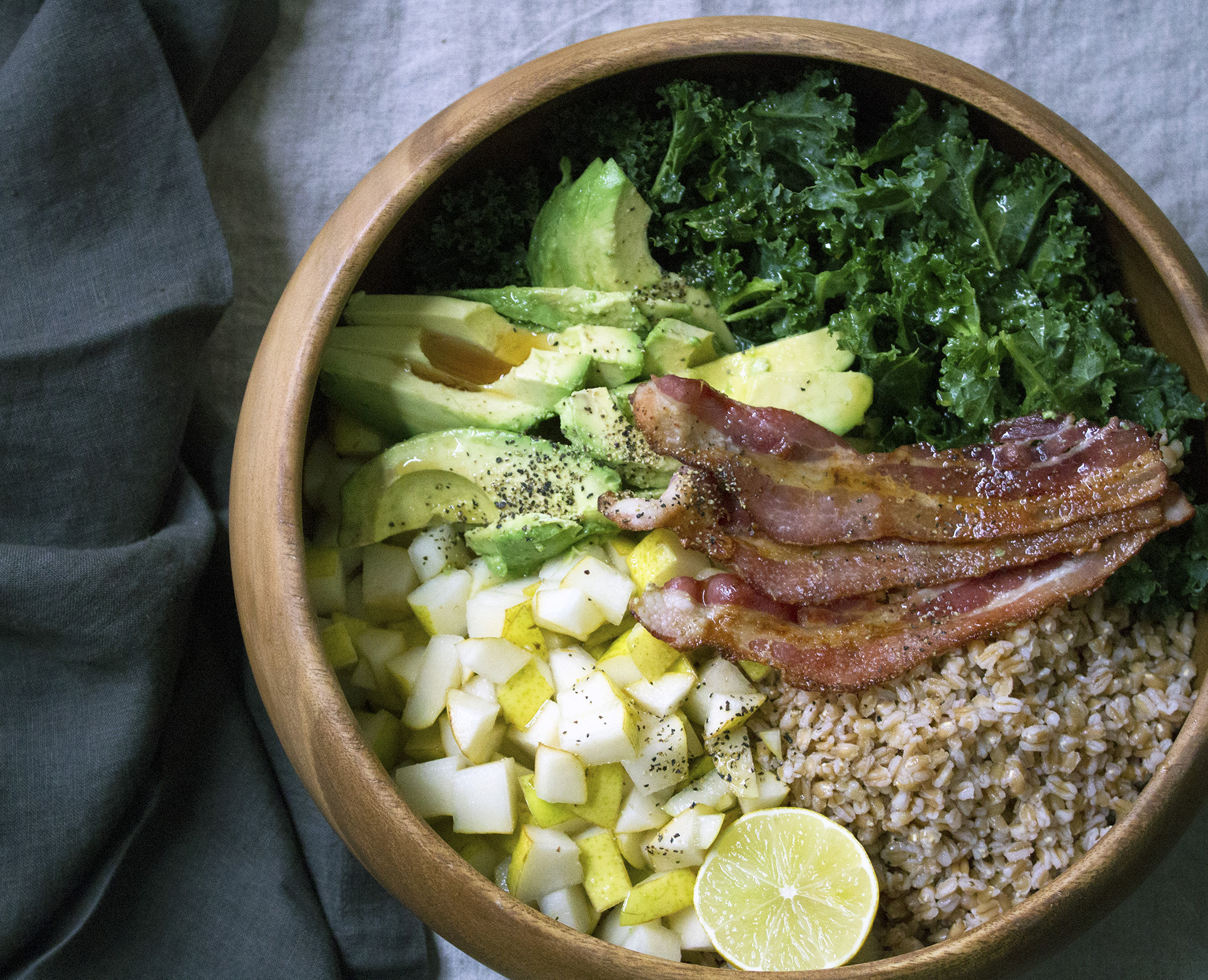 pear kale avocado bacon farro grain buddha bowl