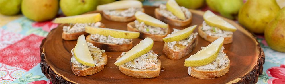 Pear Crostini With Blue Cheese & Walnut Spread